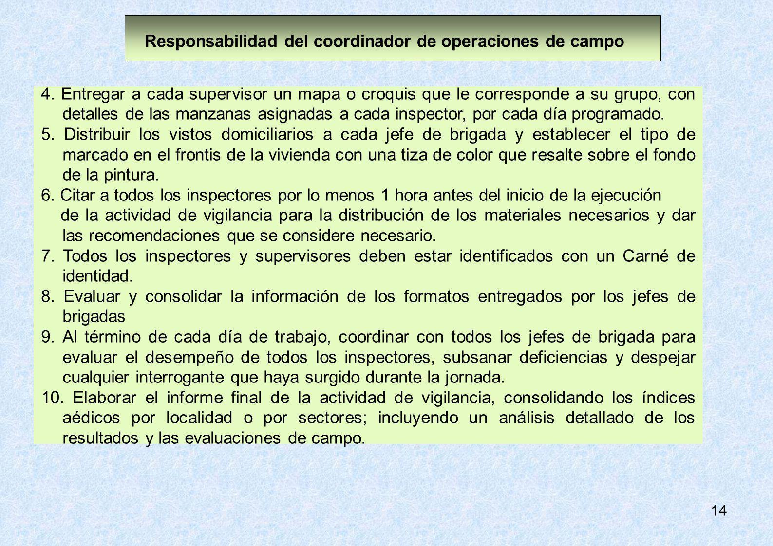14 4. Entregar a cada supervisor un mapa o croquis que le corresponde a su grupo, con detalles de las manzanas asignadas a cada inspector, por cada dí