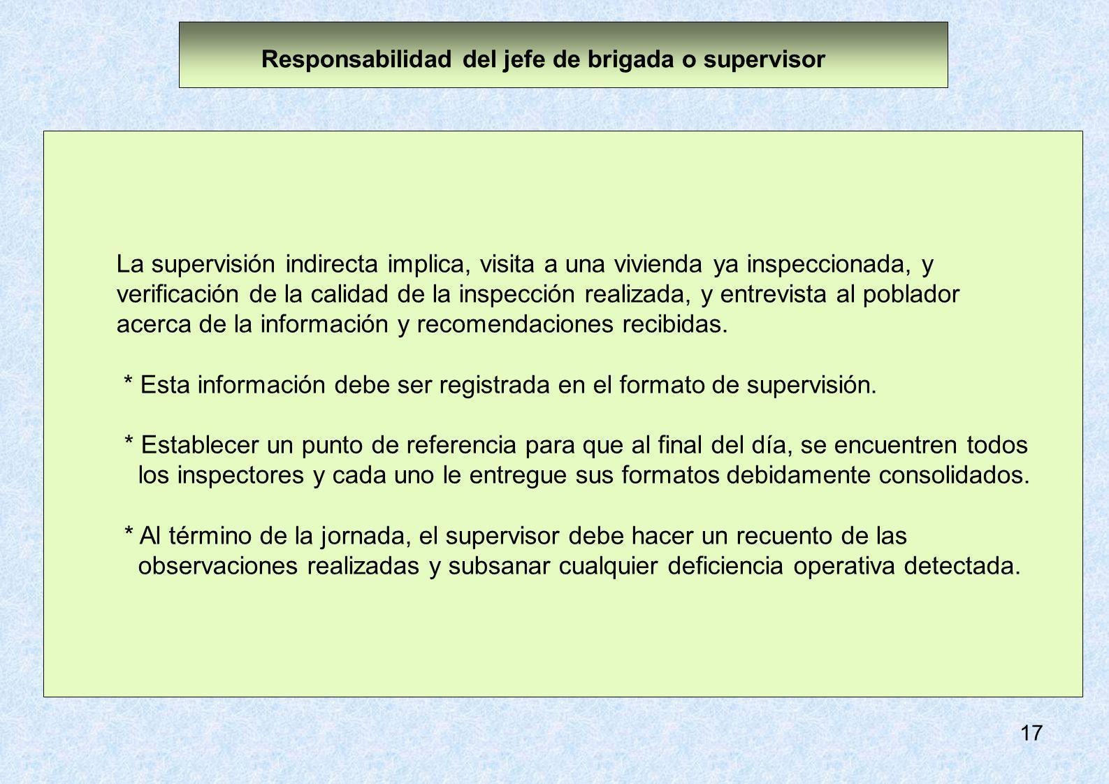 17 La supervisión indirecta implica, visita a una vivienda ya inspeccionada, y verificación de la calidad de la inspección realizada, y entrevista al