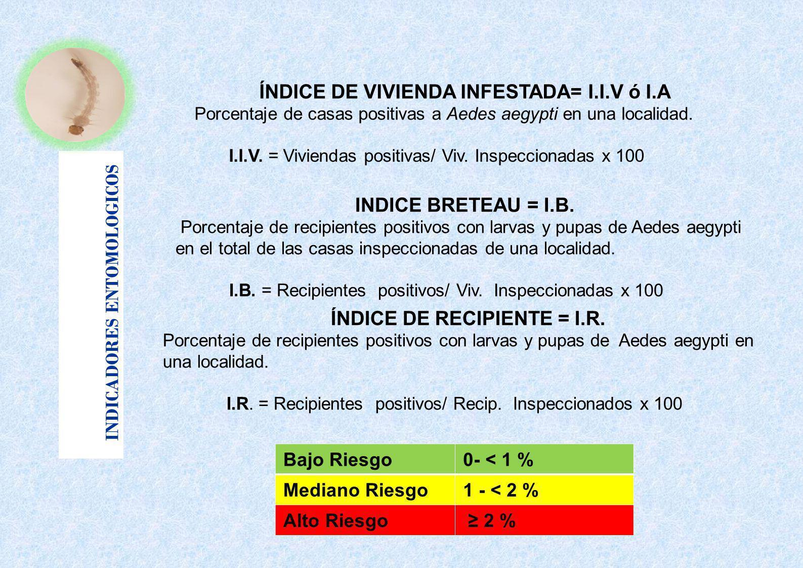 INDICADORES ENTOMOLOGICOS Bajo Riesgo0- < 1 % Mediano Riesgo1 - < 2 % Alto Riesgo 2 % ÍNDICE DE VIVIENDA INFESTADA= I.I.V ó I.A Porcentaje de casas po