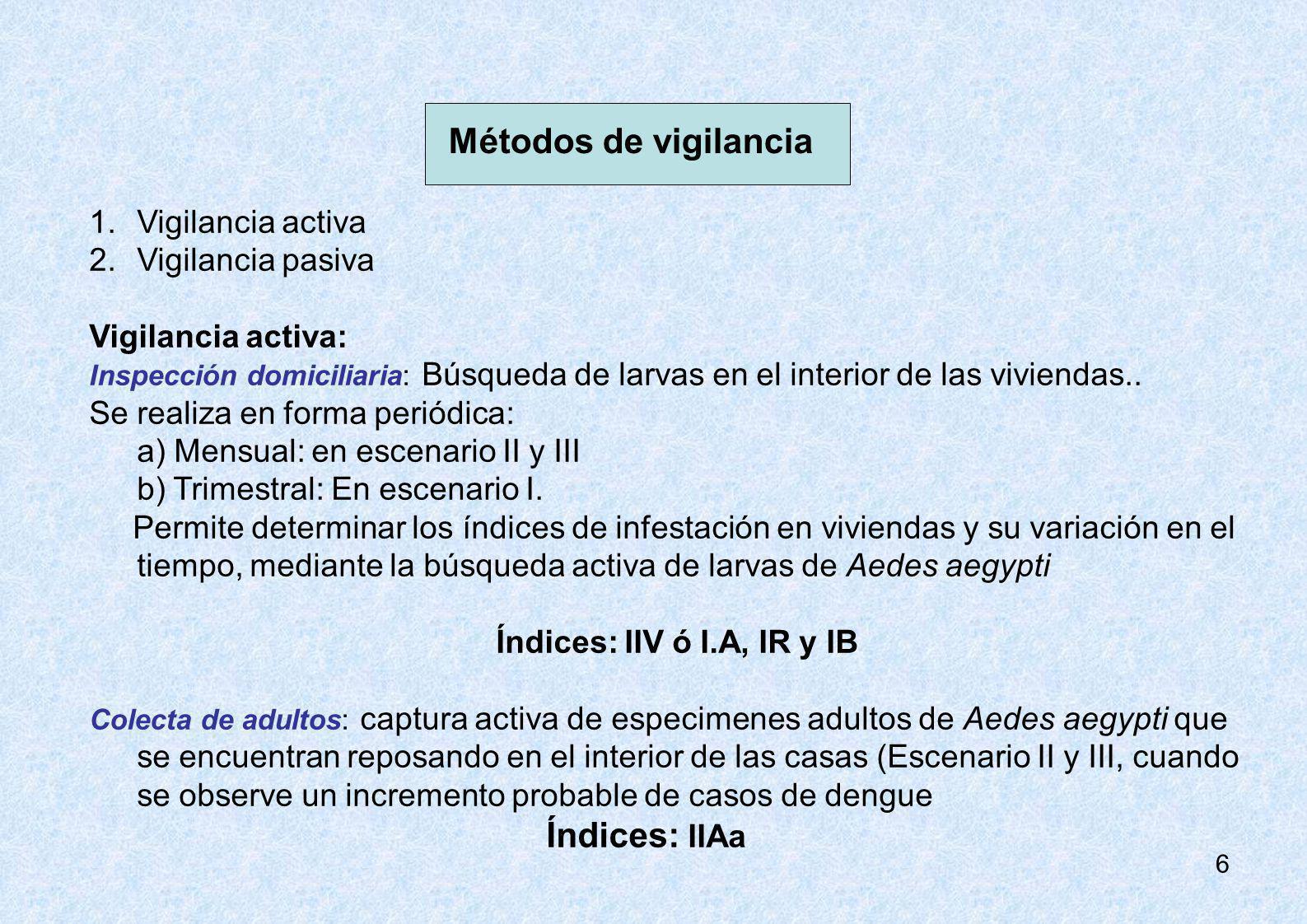 6 Métodos de vigilancia 1.Vigilancia activa 2.Vigilancia pasiva Vigilancia activa: Inspección domiciliaria: Búsqueda de larvas en el interior de las v