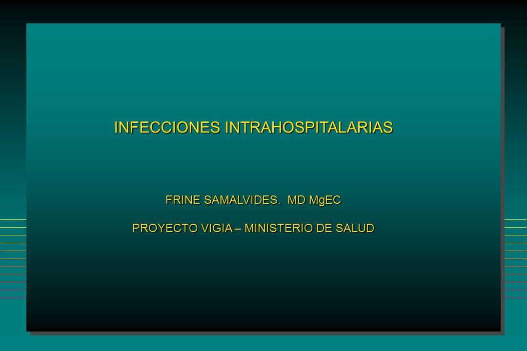 INFECCIONES INTRAHOSPITALARIAS Neumonia Cultivos rutinarios de pacientes o equipos Cultivos rutinarios de pacientes o equipos Esterilización o desinfección de circuitos internos del respirador Esterilización o desinfección de circuitos internos del respirador Cambio de circuitos en períodos menores de 48 horas Cambio de circuitos en períodos menores de 48 horas Uso de filtros en circuitos Uso de filtros en circuitos Profilaxis antibiótica Profilaxis antibiótica Medidas Efectivas Medidas Inefectivas Infect Dis Clin North Am 1993; 7:295 Infect Control Hosp Epidemiol 1994; 15:587 Técnica aséptica en la instalación y uso de material estéril Técnica aséptica en la instalación y uso de material estéril Cambio de circuitos entre pacientes Cambio de circuitos entre pacientes Lavado de manos si se ha tenido contacto con secreciones Lavado de manos si se ha tenido contacto con secreciones Uso de guantes para manipular secreciones Uso de guantes para manipular secreciones Educación al personal Educación al personal Disminuir el tiempo de ventilación mecánica Disminuir el tiempo de ventilación mecánica Am J Respir Crit Care Med 1995;152:241