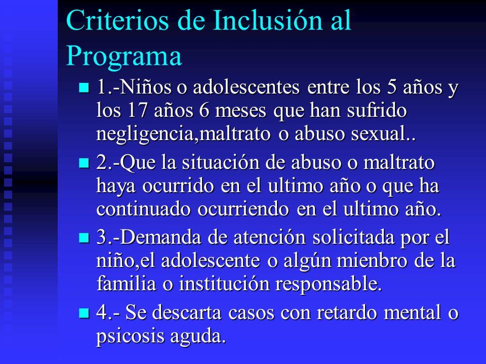Objetivos Generales Desarrollar un programa especializado en la atención de Niños y Adolescentes que han sufrido maltrato fisico y/o abuso sexual.Dise