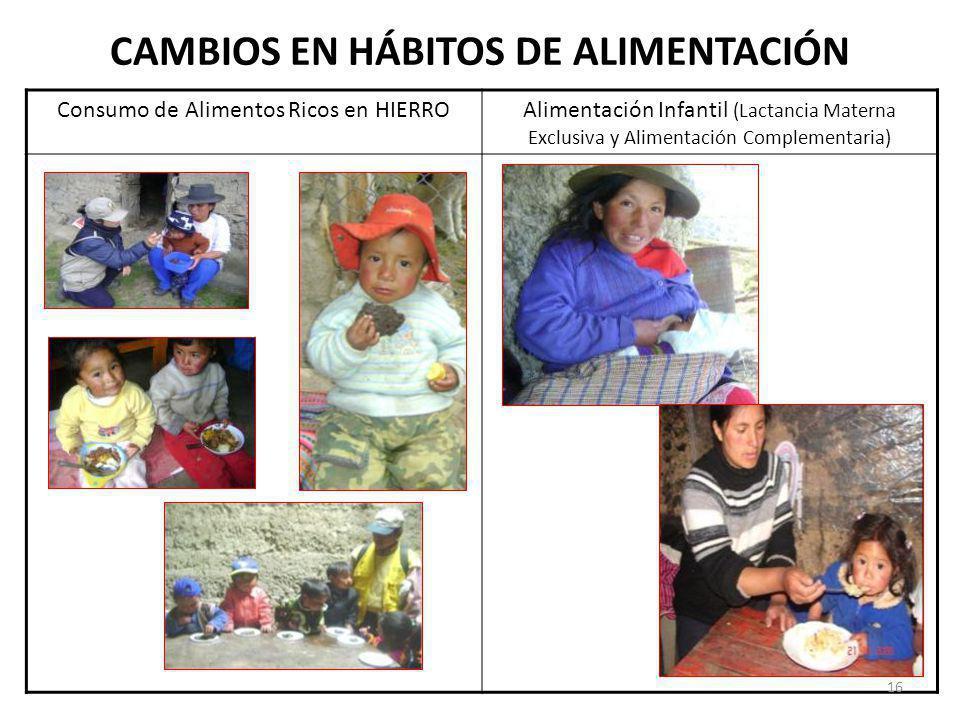 CAMBIOS EN HÁBITOS DE ALIMENTACIÓN Consumo de Alimentos Ricos en HIERROAlimentación Infantil (Lactancia Materna Exclusiva y Alimentación Complementari