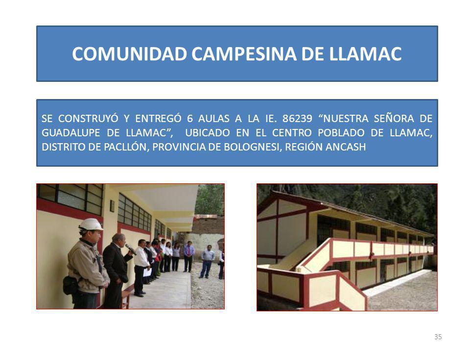 COMUNIDAD CAMPESINA DE LLAMAC 35 SE CONSTRUYÓ Y ENTREGÓ 6 AULAS A LA IE. 86239 NUESTRA SEÑORA DE GUADALUPE DE LLAMAC, UBICADO EN EL CENTRO POBLADO DE