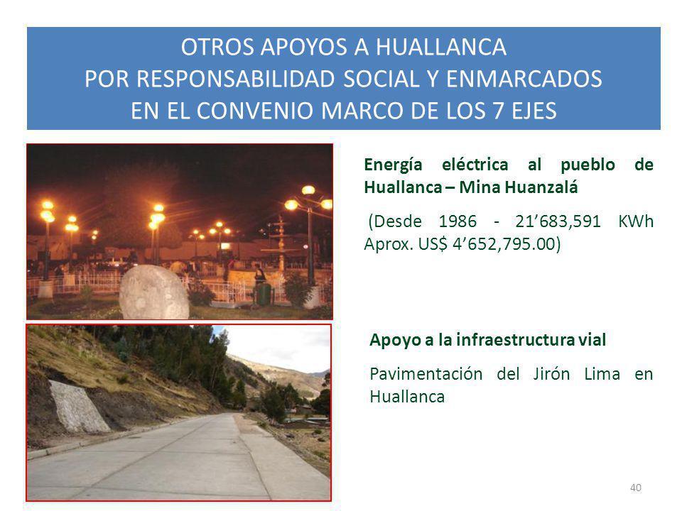 OTROS APOYOS A HUALLANCA POR RESPONSABILIDAD SOCIAL Y ENMARCADOS EN EL CONVENIO MARCO DE LOS 7 EJES 40 Energía eléctrica al pueblo de Huallanca – Mina