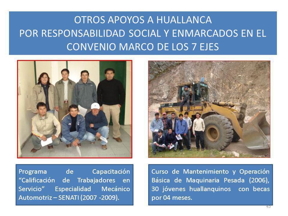 43 Programa de Capacitación Calificación de Trabajadores en Servicio Especialidad Mecánico Automotriz – SENATI (2007 -2009). Curso de Mantenimiento y