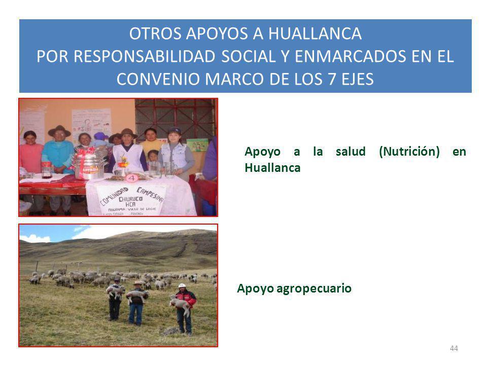 OTROS APOYOS A HUALLANCA POR RESPONSABILIDAD SOCIAL Y ENMARCADOS EN EL CONVENIO MARCO DE LOS 7 EJES 44 Apoyo agropecuario Apoyo a la salud (Nutrición)