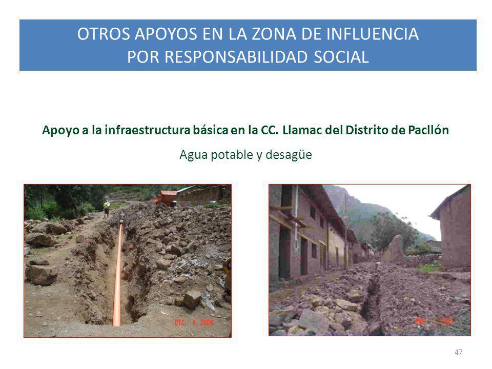OTROS APOYOS EN LA ZONA DE INFLUENCIA POR RESPONSABILIDAD SOCIAL 47 Apoyo a la infraestructura básica en la CC. Llamac del Distrito de Pacllón Agua po