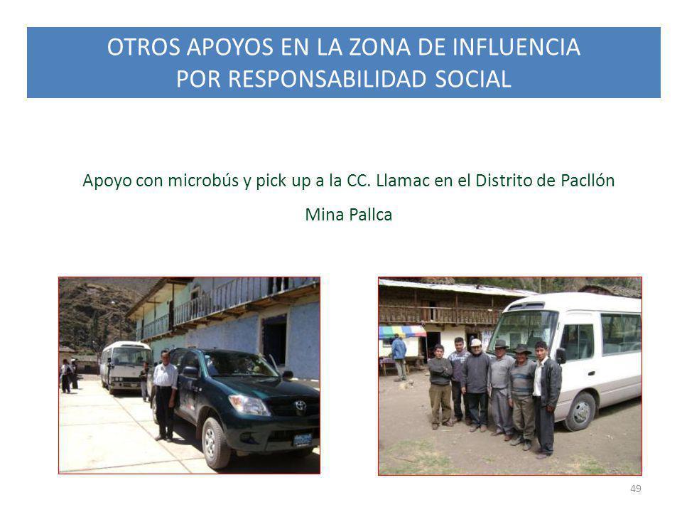 OTROS APOYOS EN LA ZONA DE INFLUENCIA POR RESPONSABILIDAD SOCIAL 49 Apoyo con microbús y pick up a la CC. Llamac en el Distrito de Pacllón Mina Pallca