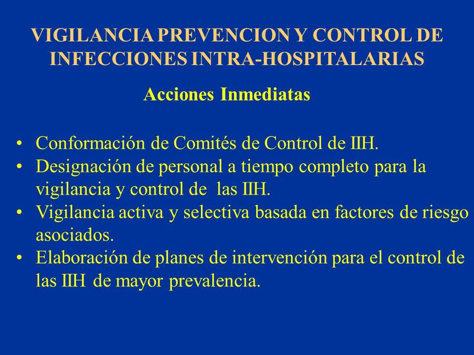 VIGILANCIA PREVENCION Y CONTROL DE INFECCIONES INTRA-HOSPITALARIAS Acciones Inmediatas Conformación de Comités de Control de IIH. Designación de perso