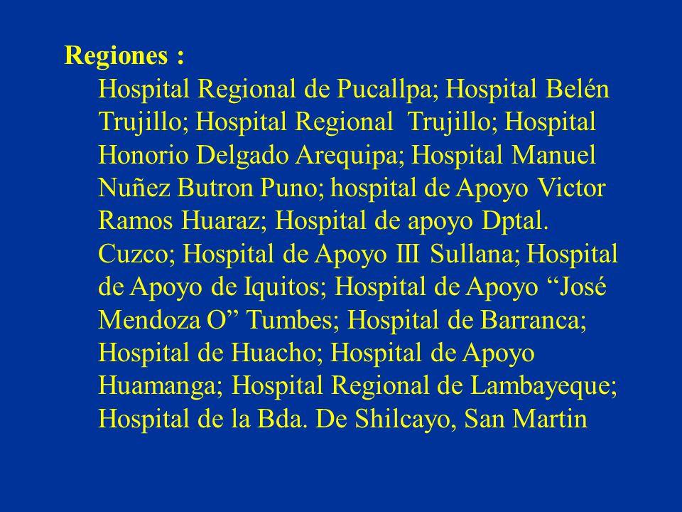 Regiones : Hospital Regional de Pucallpa; Hospital Belén Trujillo; Hospital Regional Trujillo; Hospital Honorio Delgado Arequipa; Hospital Manuel Nuñe