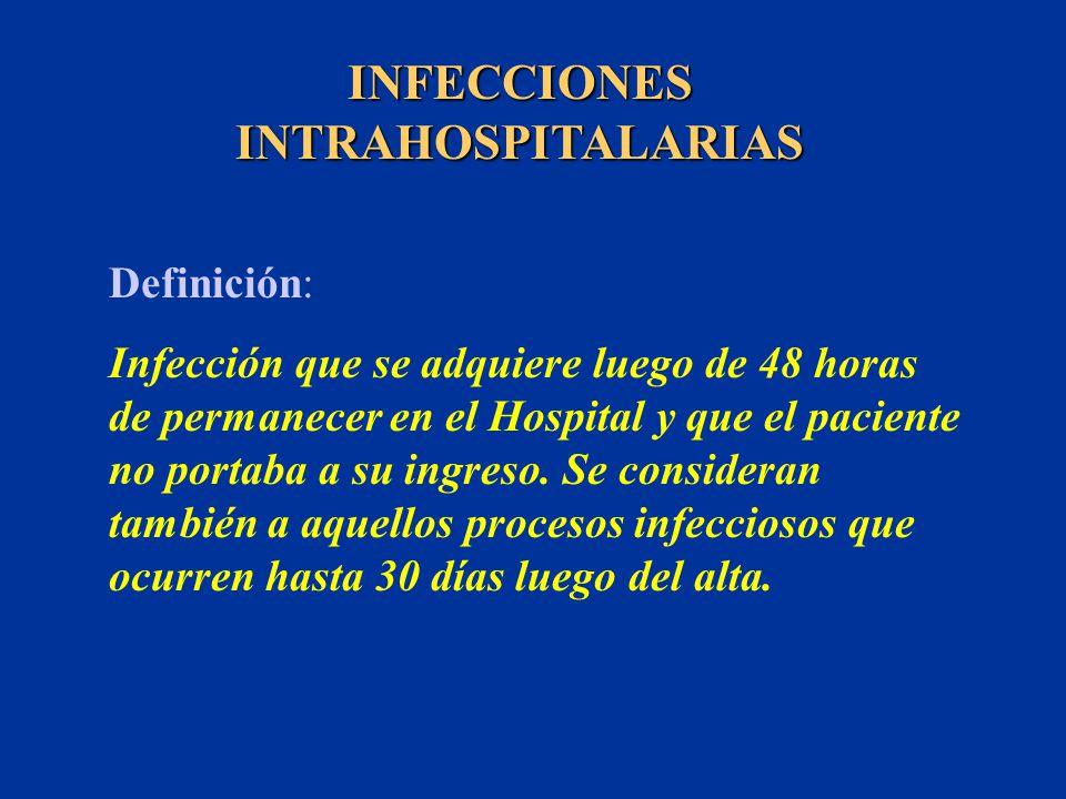 INFECCIONES INTRAHOSPITALARIAS Definición: Infección que se adquiere luego de 48 horas de permanecer en el Hospital y que el paciente no portaba a su