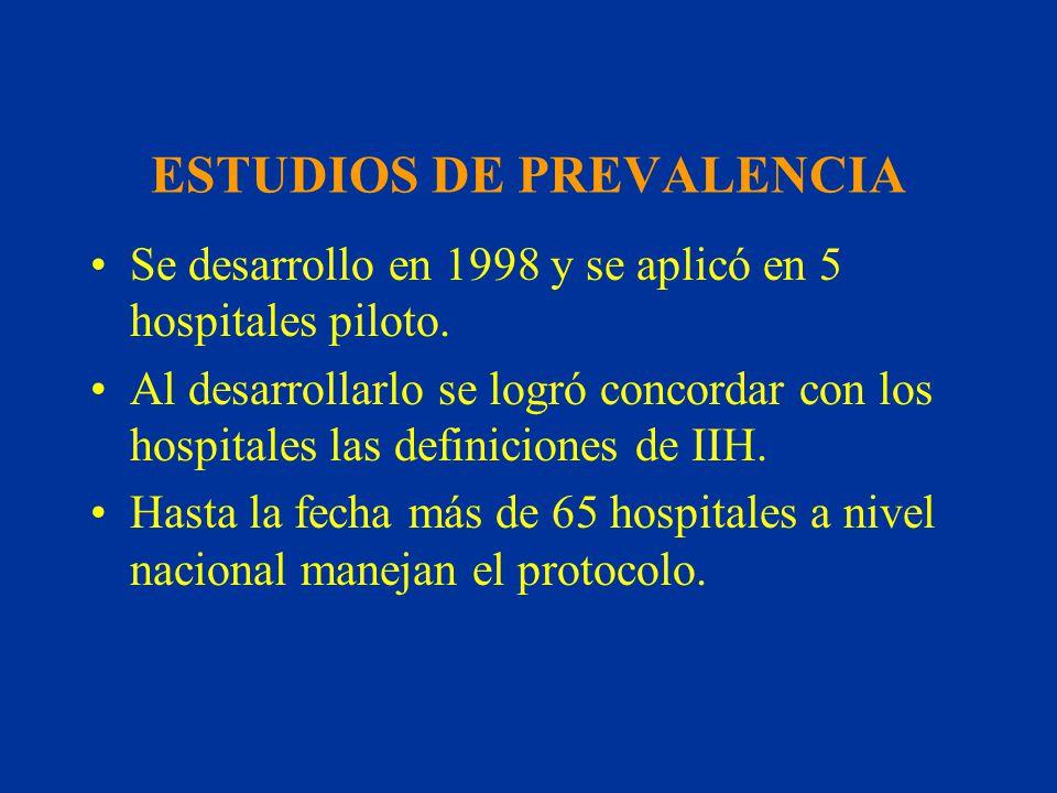 ESTUDIOS DE PREVALENCIA Se desarrollo en 1998 y se aplicó en 5 hospitales piloto. Al desarrollarlo se logró concordar con los hospitales las definicio