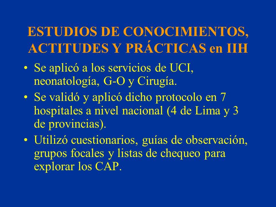 ESTUDIOS DE CONOCIMIENTOS, ACTITUDES Y PRÁCTICAS en IIH Se aplicó a los servicios de UCI, neonatología, G-O y Cirugía. Se validó y aplicó dicho protoc