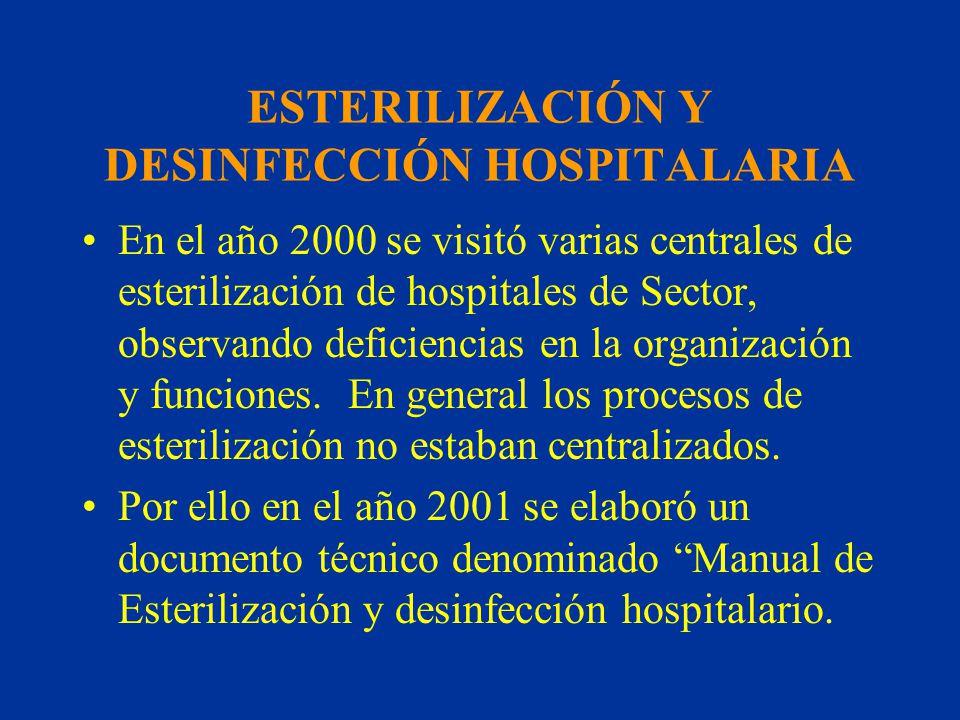 ESTERILIZACIÓN Y DESINFECCIÓN HOSPITALARIA En el año 2000 se visitó varias centrales de esterilización de hospitales de Sector, observando deficiencia