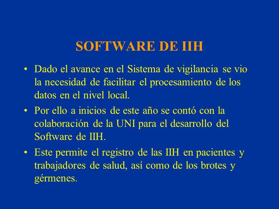 SOFTWARE DE IIH Dado el avance en el Sistema de vigilancia se vio la necesidad de facilitar el procesamiento de los datos en el nivel local. Por ello