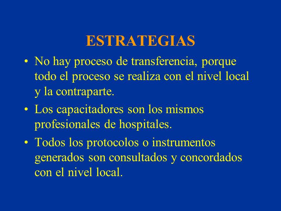 ESTRATEGIAS No hay proceso de transferencia, porque todo el proceso se realiza con el nivel local y la contraparte. Los capacitadores son los mismos p