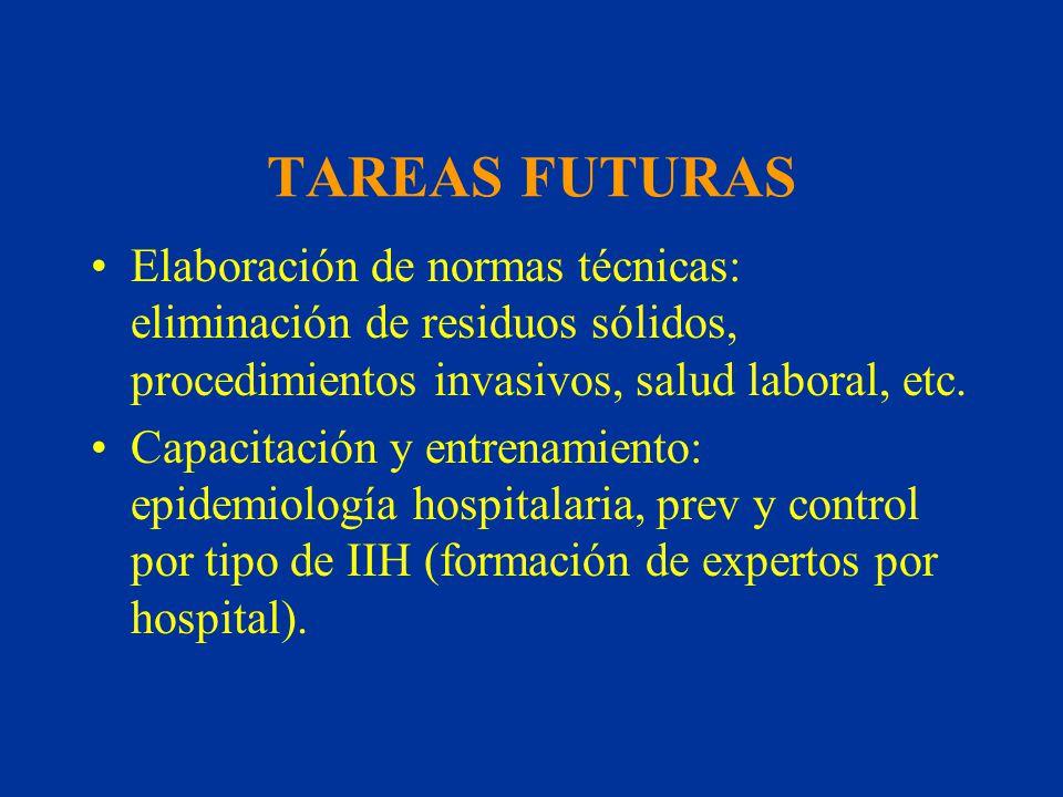 TAREAS FUTURAS Elaboración de normas técnicas: eliminación de residuos sólidos, procedimientos invasivos, salud laboral, etc. Capacitación y entrenami