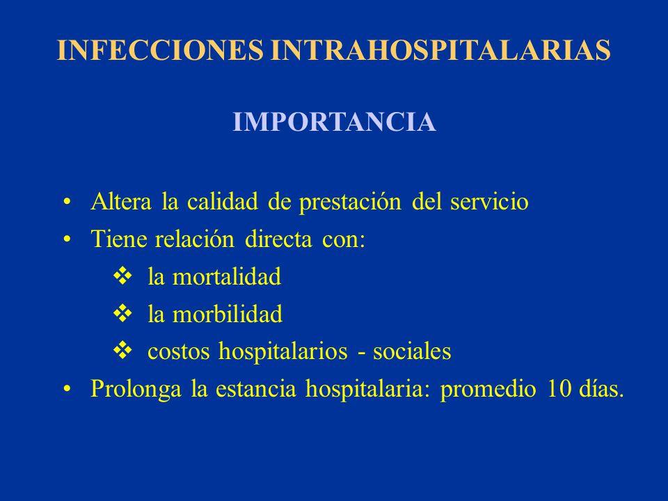 INFECCIONES INTRAHOSPITALARIAS IMPORTANCIA Altera la calidad de prestación del servicio Tiene relación directa con: la mortalidad la morbilidad costos