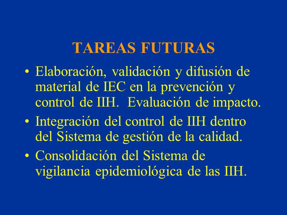 TAREAS FUTURAS Elaboración, validación y difusión de material de IEC en la prevención y control de IIH. Evaluación de impacto. Integración del control