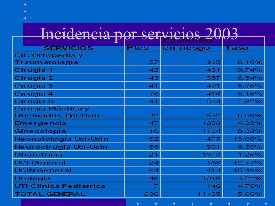 Incidencia por servicios 2003
