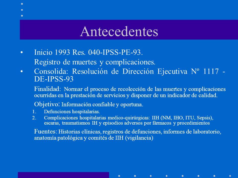 Antecedentes Inicio 1993 Res. 040-IPSS-PE-93. Registro de muertes y complicaciones. Consolida: Resolución de Dirección Ejecutiva Nº 1117 - DE-IPSS-93