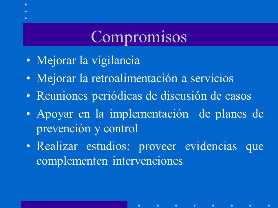 Compromisos Mejorar la vigilancia Mejorar la retroalimentación a servicios Reuniones periódicas de discusión de casos Apoyar en la implementación de planes de prevención y control Realizar estudios: proveer evidencias que complementen intervenciones