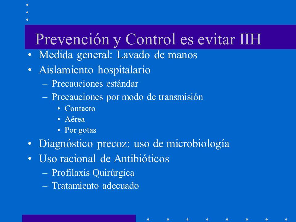 Prevención y Control es evitar IIH Medida general: Lavado de manos Aislamiento hospitalario –Precauciones estándar –Precauciones por modo de transmisi