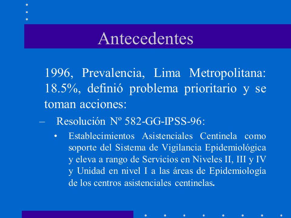 Antecedentes 1996, Prevalencia, Lima Metropolitana: 18.5%, definió problema prioritario y se toman acciones: –Resolución Nº 582-GG-IPSS-96: Establecimientos Asistenciales Centinela como soporte del Sistema de Vigilancia Epidemiológica y eleva a rango de Servicios en Niveles II, III y IV y Unidad en nivel I a las áreas de Epidemiología de los centros asistenciales centinelas.