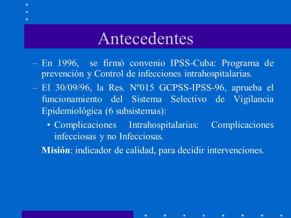Antecedentes –En 1996, se firmó convenio IPSS-Cuba: Programa de prevención y Control de infecciones intrahospitalarias. –El 30/09/96, la Res. Nº015 GC