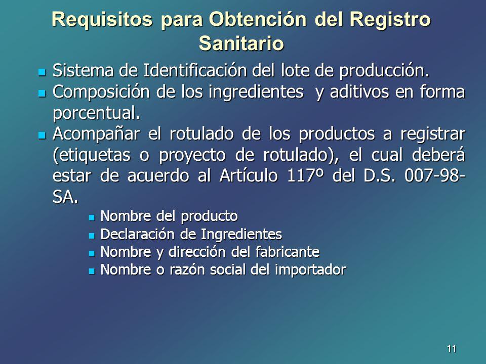 11 Sistema de Identificación del lote de producción. Sistema de Identificación del lote de producción. Composición de los ingredientes y aditivos en f