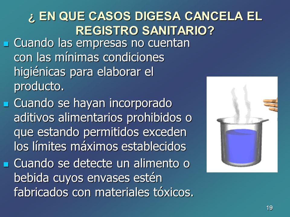19 Cuando las empresas no cuentan con las mínimas condiciones higiénicas para elaborar el producto. Cuando las empresas no cuentan con las mínimas con