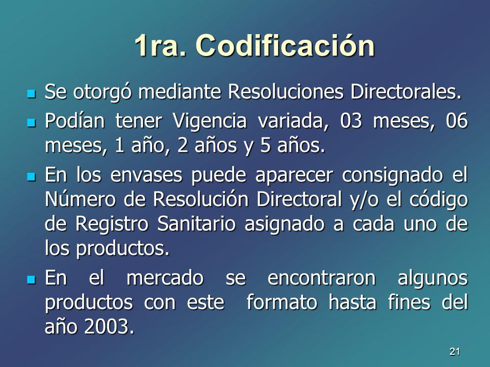 21 1ra. Codificación Se otorgó mediante Resoluciones Directorales. Se otorgó mediante Resoluciones Directorales. Podían tener Vigencia variada, 03 mes