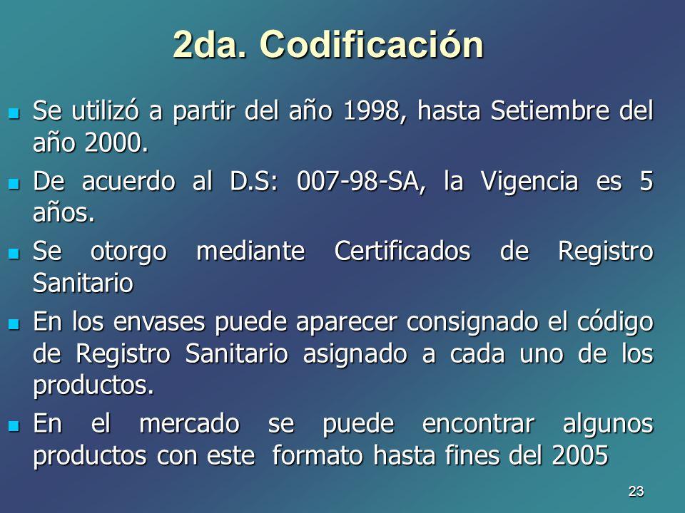 23 2da. Codificación Se utilizó a partir del año 1998, hasta Setiembre del año 2000. Se utilizó a partir del año 1998, hasta Setiembre del año 2000. D