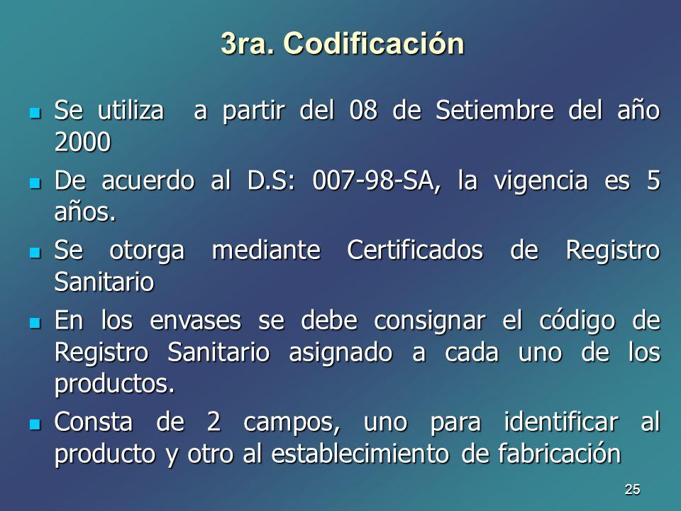 25 3ra. Codificación Se utiliza a partir del 08 de Setiembre del año 2000 Se utiliza a partir del 08 de Setiembre del año 2000 De acuerdo al D.S: 007-