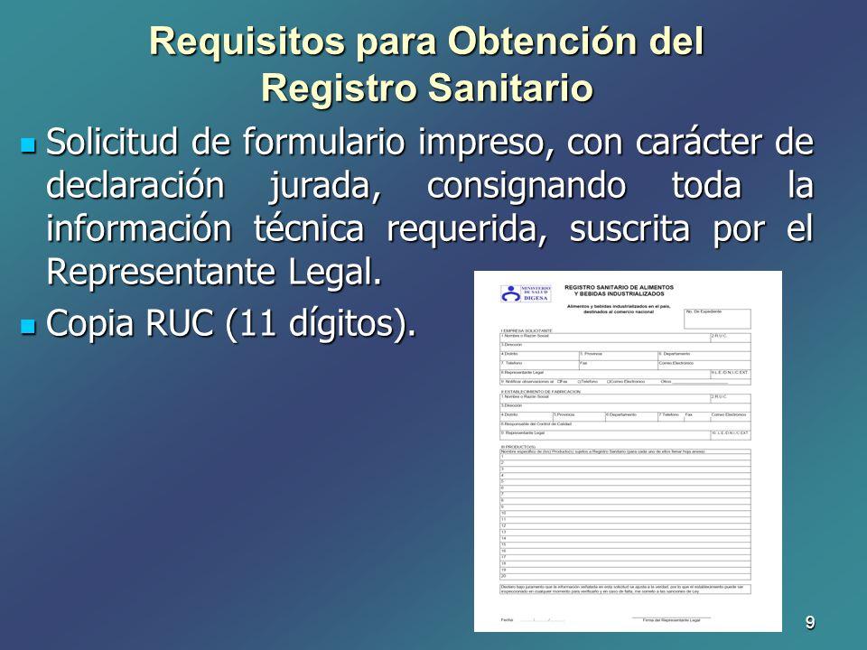 9 Solicitud de formulario impreso, con carácter de declaración jurada, consignando toda la información técnica requerida, suscrita por el Representant