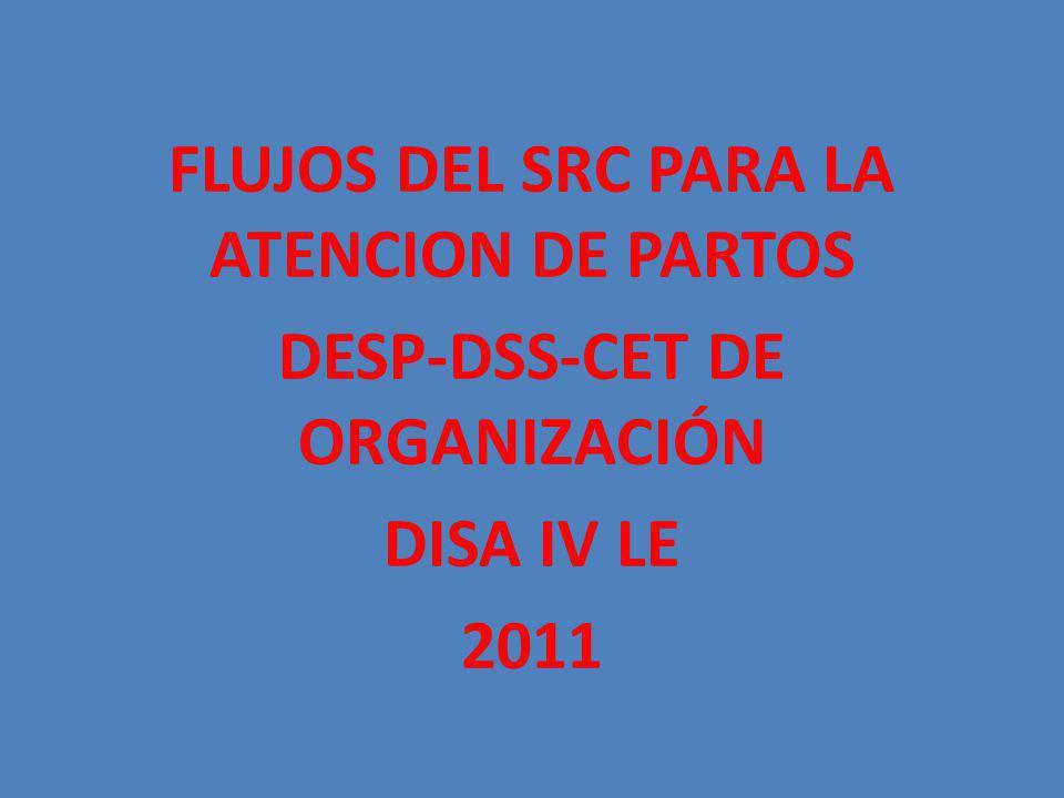 FLUJOS DEL SRC PARA LA ATENCION DE PARTOS DESP-DSS-CET DE ORGANIZACIÓN DISA IV LE 2011