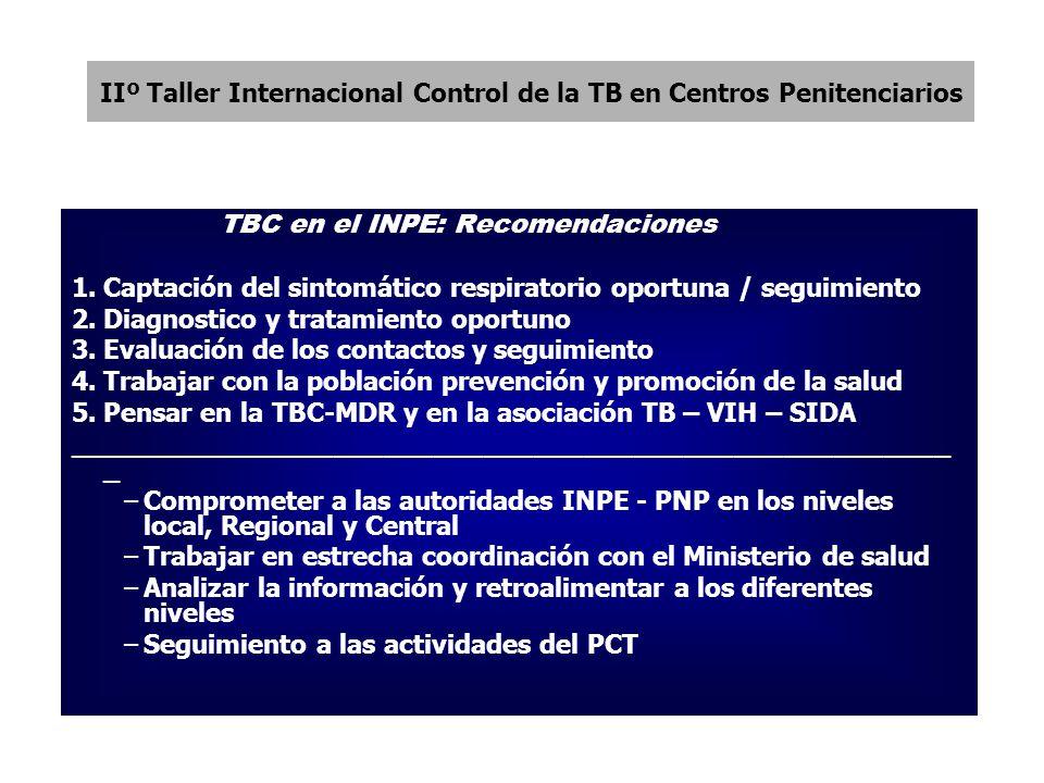 IIº Taller Internacional Control de la TB en Centros Penitenciarios TBC en el INPE: Recomendaciones 1.Captación del sintomático respiratorio oportuna / seguimiento 2.Diagnostico y tratamiento oportuno 3.Evaluación de los contactos y seguimiento 4.Trabajar con la población prevención y promoción de la salud 5.Pensar en la TBC-MDR y en la asociación TB – VIH – SIDA _____________________________________________________ _ –Comprometer a las autoridades INPE - PNP en los niveles local, Regional y Central –Trabajar en estrecha coordinación con el Ministerio de salud –Analizar la información y retroalimentar a los diferentes niveles –Seguimiento a las actividades del PCT