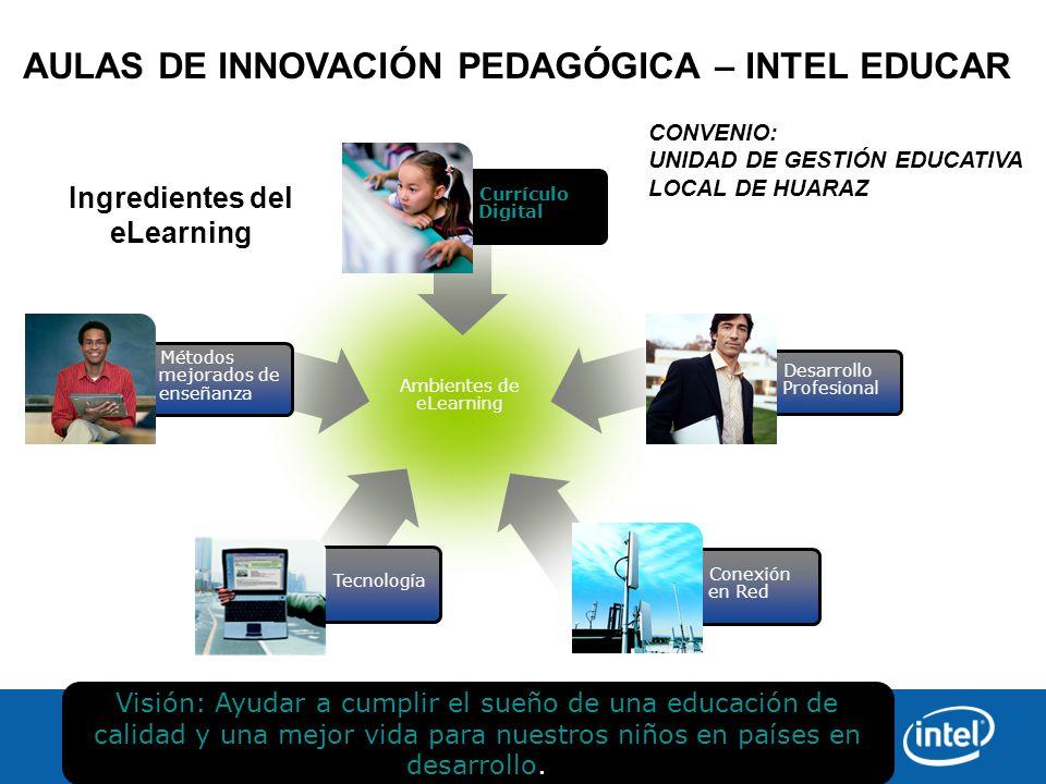 Ambientes de eLearning Ingredientes del eLearning Tecnología Conexión en Red Desarrollo Profesional Currículo Digital Métodos mejorados de enseñanza Visión: Ayudar a cumplir el sueño de una educación de calidad y una mejor vida para nuestros niños en países en desarrollo.