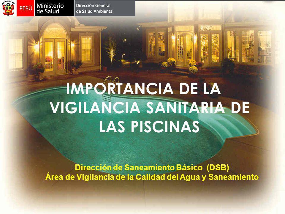 IMPORTANCIA DE LA VIGILANCIA SANITARIA DE LAS PISCINAS Dirección de Saneamiento Básico (DSB) Área de Vigilancia de la Calidad del Agua y Saneamiento