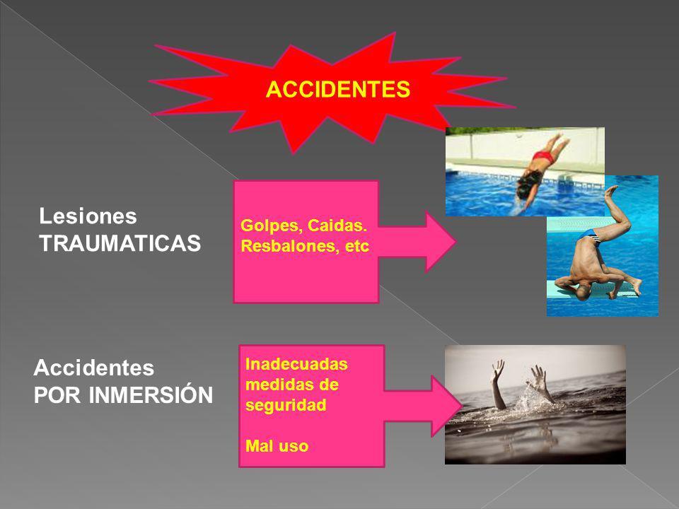 ACCIDENTES Lesiones TRAUMATICAS Accidentes POR INMERSIÓN Golpes, Caidas. Resbalones, etc Inadecuadas medidas de seguridad Mal uso