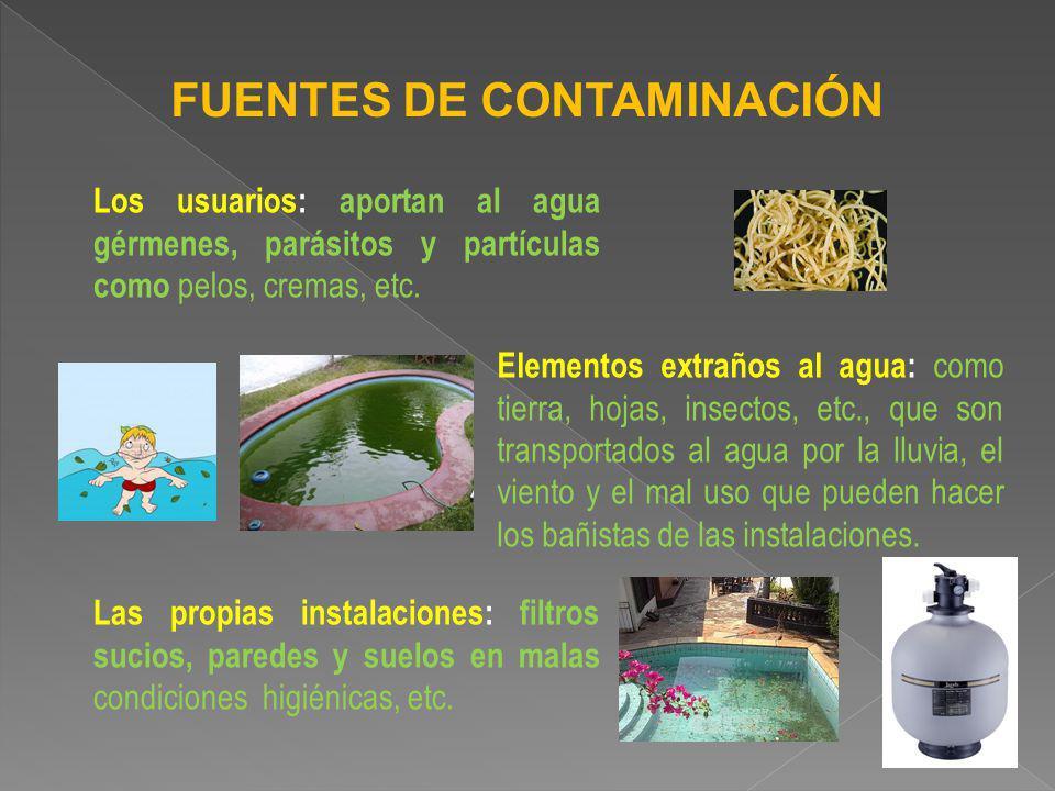FUENTES DE CONTAMINACIÓN Los usuarios: aportan al agua gérmenes, parásitos y partículas como pelos, cremas, etc. Elementos extraños al agua: como tier