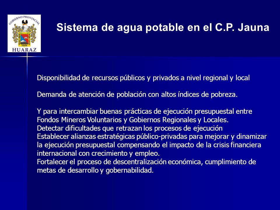 Sistema de agua potable en el C.P.