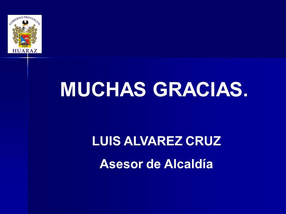 MUCHAS GRACIAS. LUIS ALVAREZ CRUZ Asesor de Alcaldía