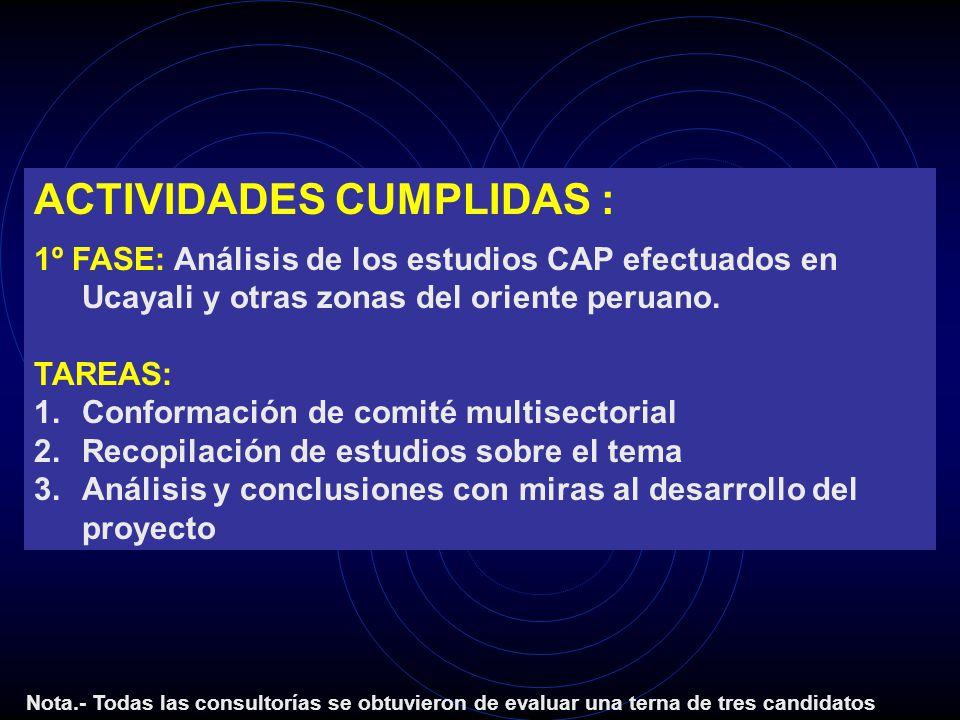 ACTIVIDADES CUMPLIDAS : 1º FASE: Análisis de los estudios CAP efectuados en Ucayali y otras zonas del oriente peruano. TAREAS: 1.Conformación de comit