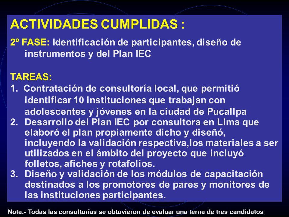 ACTIVIDADES CUMPLIDAS : 2º FASE: Identificación de participantes, diseño de instrumentos y del Plan IEC TAREAS: 1. Contratación de consultoría local,