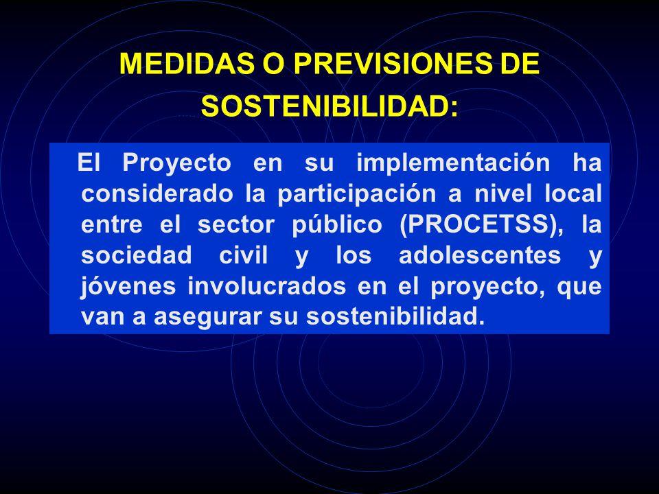 MEDIDAS O PREVISIONES DE SOSTENIBILIDAD: El Proyecto en su implementación ha considerado la participación a nivel local entre el sector público (PROCE