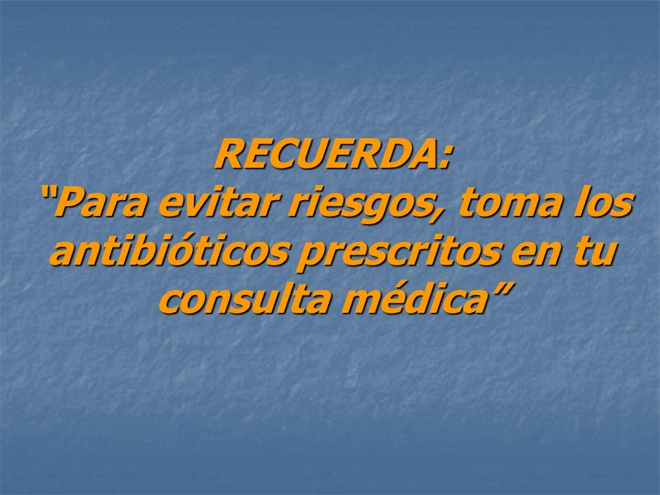 RECUERDA: Para evitar riesgos, toma los antibióticos prescritos en tu consulta médica