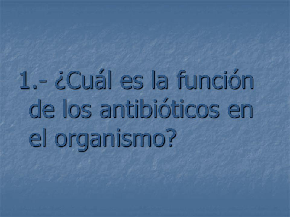 1.- ¿Cuál es la función de los antibióticos en el organismo?