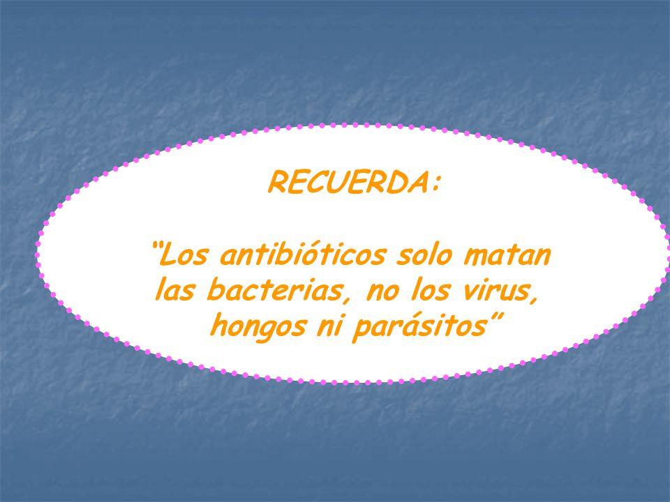 RECUERDA: Los antibióticos solo matan las bacterias, no los virus, hongos ni parásitos